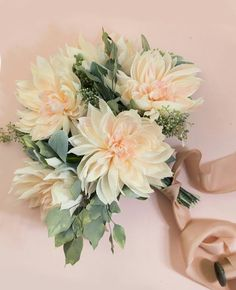Lovely Hand Tied Wedding Bouquet Featuring: Cream Peach Dahlias, Lamb's Ear, Seeded Eucalyptus + Additional Greenery/Foliage