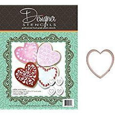 Valentine's Day Mini Hearts Cookie Stencil Set - 2 inch and Heirloom Copper Cookie Cutter by Designer Stencils Heart Cookies, No Bake Cookies, Valentines Day Cookies, Mini Heart, Cupcake Liners, Cookie Cutters, Stencils, Copper, Hearts