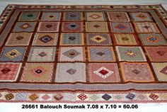 Balouch Soumak, 7-8 x 7-10 by A Rug For All Reasons   As you can see, this Balouch Soumak from Iran is stunning -- absolutely charming and very unusual in its colors and gabbeh-type design.  These well constructed rugs, made with both a flatwoven soumak weave combined with handknotted pile are rare and soon to become rarer still as they are no longer being imported into the United States due to the embargo on Persian rugs. The shape of this rug is well suited to a dining area with a round…