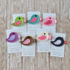 Felt Bird Hair Clip - You Pick 1 Clippie - Pink, Apple Green, White, Aqua, Purple, Chocolate, Navy - cute every day clip - party favors
