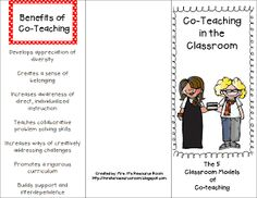 Mrs. H.'s Resource Room: Co-Teaching Brochure *FREEBIE* Great resource to share with your school staff and admin.  Includes the 5 Co-teaching models and benefits
