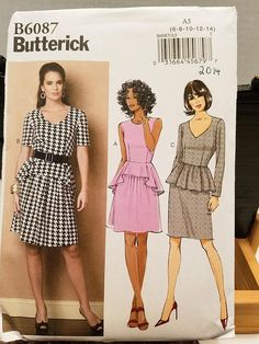 Butterick Pattern 6087   Dress short sleeve no sleeve long