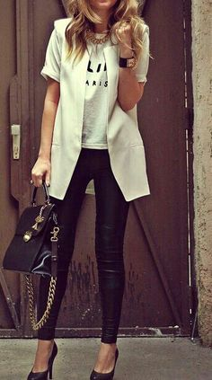 White long blazer, classy black and white chic outfit