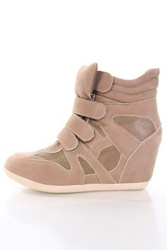 Taupe Taupe Faux Suede Hook Lock Closure Sneaker Wedges @ Amiclubwear Wedges Shoes Store:Wedge Shoes,Wedge Boots,Wedge Heels,Wedge Sandals,Dress Shoes,Summer Shoes,Spring Shoes,Prom Shoes,Women's Wedge Shoes,Wedge Platforms Shoes,floral wedges,Fashion Wed
