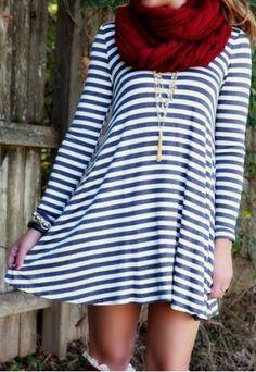 Stylish Scoop Neck Stripe Print Backless Long Sleeve Dress For WomenLong Sleeve Dresses | RoseGal.com