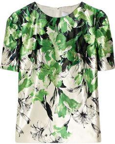 Prabal Gurung Floral-print cotton and silk-blend satin blouse
