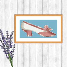 Victorian Pink Shoe, Modern Cross Stitch Pattern, Digital Download, Point de Croix, Fashion Wall Art, Birthday Gift, Shabby Chic, Sewing by EdithGraceDesigns on Etsy