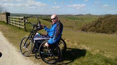 John Harper on his handcycle in the Peak District