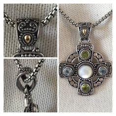 """FOUR ROADS ENHANCER EUC $280 Retail + Tax   *All roads lead to Mother-of-Pearl *Scrolling details *18K Silver *Mother of Pearl/Peridot/Aquamarine *Pendant length/width 1 3/8"""" *Enhance over-all length 1.5""""  🛍 2+ BUNDLE=SAVE  ‼️NO TRADES--NO HOLDS--NO MODELING  💯 Designer Items Authentic   ✈️ Ship Same Day--Next Day (Purchase Before Noon for Same Day)  🖲 USE BLUE OFFER BUTTON TO NEGOTIATE (Low Ball Offers Declined)  ✔️ Ask Questions Not Answered In Description--Want You To Be Happy Carolyn…"""