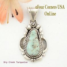 Dry Creek Turquoise Sterling Pendant Navajo Artisan Harry Spencer NAP-1553 Four Corners USA OnLine Native American Jewelry
