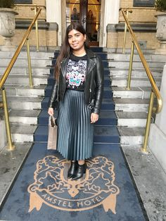 At the Amstel Hotel Zara skirt | Kenzo sweater | Zara jacket and ankle boots By Nandini Janki