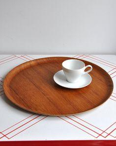 Huge Swedish Molded Round Teak Tray by MisterTrue on Etsy, $42.00
