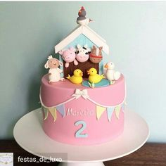 Animals Birthday Cake - # Baby Cakes - From my HoMe Farm Birthday Cakes, Animal Birthday Cakes, 2nd Birthday Party Themes, Farm Animal Birthday, Birthday Cake Girls, Baby Birthday, Third Birthday, Birthday Ideas, Farm Animal Cakes