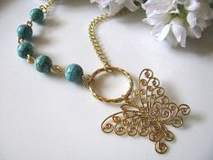 Soft Golden Butterfly Pendant with Blue Turquoise Beads 25