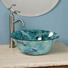 blue glass vessel sink