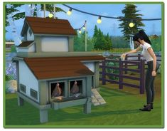 A functional chicken coop for by icemunmun. Allows Sims to buy chickens, feed them, collect eggs, and interact with the chickens and baby chicks. It's an incredibly detailed CC! Sims 4 Game Mods, Sims Games, Sims 4 Mods, Sims 4 Decades Challenge, Sims Challenge, Sims 4 Pets Mod, Sims 3, Small Greenhouse, Greenhouse Ideas