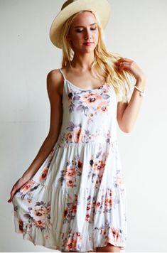 Women's fashion.  Floral, ruffled, cami dress