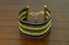 Yellow, Blue & Gold Bracelet,  by oRadhaO on Etsy