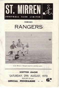 St Mirren 0 Rangers 0 in Aug 1970 at Love Street. Programme cover #ScotDiv1