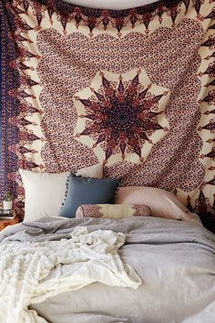 Verani Mandala Bohemian Boho Brown Gold Copper Wall Beach Bed Tapestry