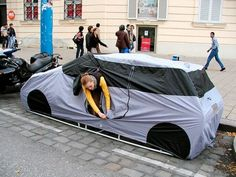 The Car Tent: a tent designed to look like a car cover, so you can go camping in the city without being disturbed. The Car Tent: a tent designed to look like a car cover, so you can go camping in the city without being disturbed. Best Tents For Camping, Cool Tents, Camping World, Tent Camping, Camping Gear, Camping Hacks, Camping Stuff, Camping Cabins, Backpacking Tent