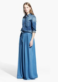 long-denim-skirt-female- | Long Denim Skirt | Pinterest | Denim skirt