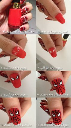 Awesome Halloween Nail Art Designs Step by Step - Nail Designs Nail Art Diy, Easy Nail Art, Cool Nail Art, Cute Nails, Pretty Nails, My Nails, Superhero Nails, Superhero Halloween, Superhero Party