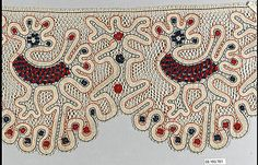 Fragment, Russian, 19th century, bobbin lace