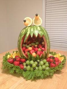 Fruit Monster Little Monster Birthday, Monster 1st Birthdays, Monster Birthday Parties, 1st Boy Birthday, First Birthday Parties, First Birthdays, Birthday Ideas, Halloween Fruit, Halloween Appetizers
