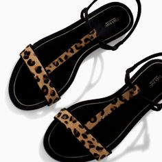 Image 5 of PRINTED LEATHER SANDAL WITH EDGING from Zara
