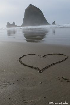 Heart on the beach ~ Cannon Beach, Oregon