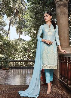 Buy Straight Cut Style Astounding Salwar Kameez in Blue Color & Georgette Fabric