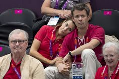 Princess Mary and Prince Frederik of Denmark cuddles at 2012 Olympics.
