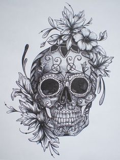 girlie skull tattoo. skull sleeve tattoo. sugar skull tattoo