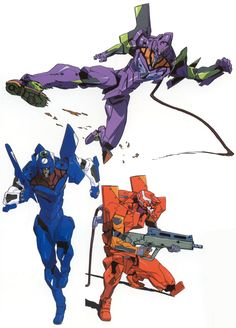 "as-warm-as-choco: "" Neon Genesis Evangelion (新世紀エヴァンゲリオン) white background UNIT 00, 01 & 02 illustrations by key animator Yoh Yoshinari (吉成曜), featured in his new art book ""The Art of Yoh Yoshinari..."