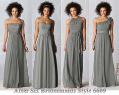 long grey dresses. different dress for each bridesmaid!
