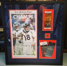 #Broncos #SB50 shadowbox featuring @denverpost Championship newspaper, ticket, pin and VIP passes! Custom framed using suede matting and UV glass, We are your source for #DenverBroncos framing in Denver!