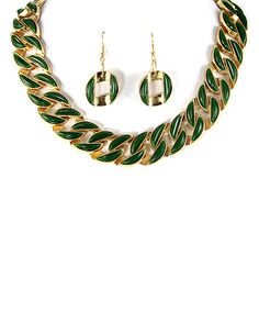 Look what I found on #zulily! Gold & Green Chain Link Necklace & Earrings by MOA International Corp #zulilyfinds