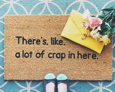 Unique Welcome Door Mat Collection - Funny, Inspirational, Pop Culture, Swear Words Living Room Decor On A Budget, Small Living Rooms, Decorating On A Budget, Porch Decorating, Funny Doormats, Home Decor Inspiration, Decor Ideas, Gift Ideas, House With Porch