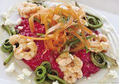 Roasted Alaska Beet & Side-Stripe Shrimp Risotto recipe courtesy of Chef Cole Bryan, Sack's Cafe & Restaurant