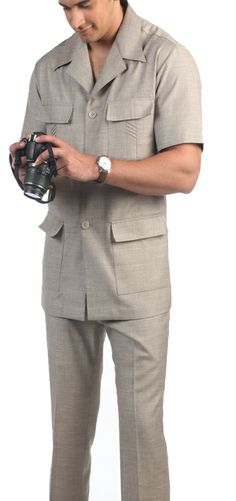 d78bb1f50 Light Brown Desert Sand Safari Suit   Notch Lapel Custom Tailored Safari  Suit African Men Fashion