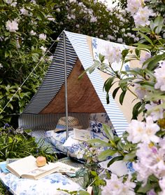 Backyard glampy reading nook tent.
