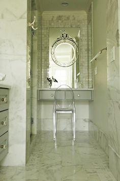 Great ideas for a windowless bathroom!  Transitional Bathroom by Kemp Hall Studio