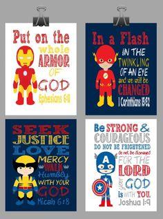 Set of 4 Superhero Wall Art - Christian Print Captain America, Flash, Wolverine, Ironman Nursery Decor - Bible Verse - Visit to grab an amazing super hero shirt now on sale! Idees Cate, Superhero Wall Art, Superhero Boys Room, Superhero Signs, John David, Christian Wall Art, Christian Decor, Kids Church, Church Ideas