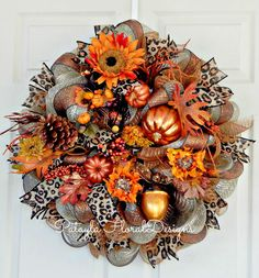 A personal favorite from my Etsy shop https://www.etsy.com/listing/169499434/xl-fall-copper-deco-mesh-wreath-leopard