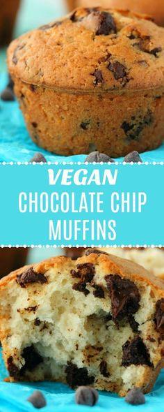 Vegan Chocolate Chip Muffins - Moist and Rich! Super easy vegan chocolate chip muffins, moist, rich and packed with chocolate chunks. Healthy Vegan Snacks, Vegan Treats, Vegan Foods, Vegan Dishes, Healthy Baking, Vegan Dessert Recipes, Vegan Breakfast Recipes, Baking Recipes, Vegan Breakfast Muffins
