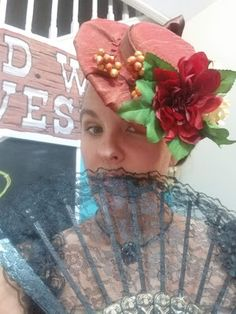 Com: Victorian Hat & Costume DIY - A Wild West Murder Mystery Party - How to make a Victorian style hat from a tupperware bowl, cardboard, some fabric and flowers.