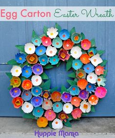 Spring Crafts | Upcycle egg cartons into this pretty wreath that's perfect for Easter and spring!