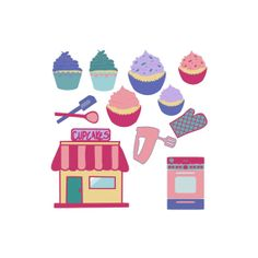 Digital Download Cupcake Shop Graphics Clip Art by ChangingVases, $5.00
