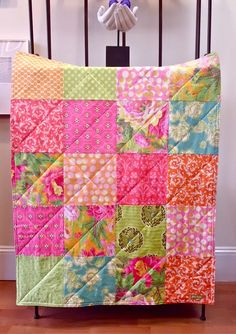 Baby Girl Quilt  Floral Burst Baby Blanket in by FernLeslieBaby, $79.00